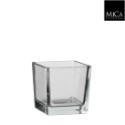 Vase carré en verre transparent 10x10xH10cm